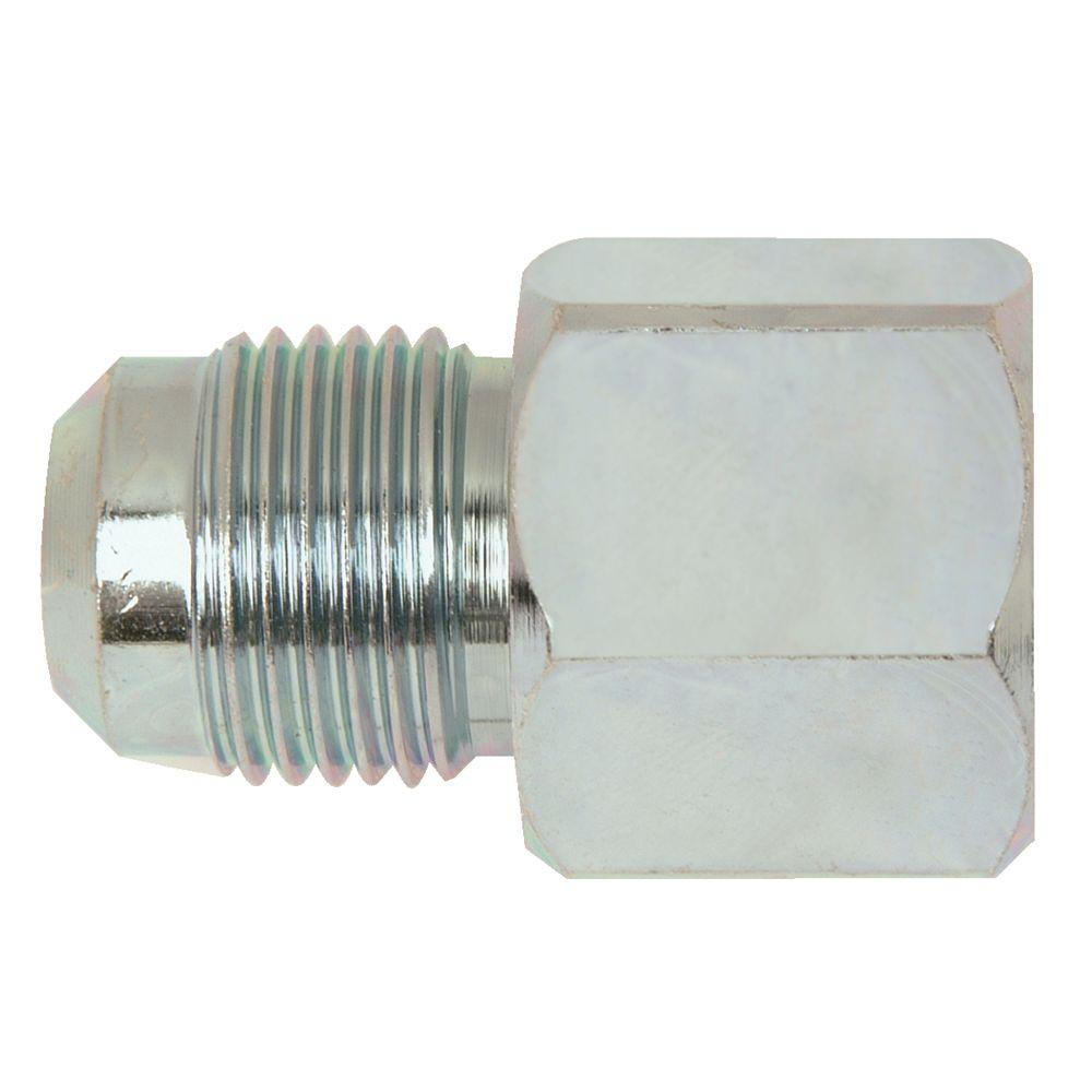 BrassCraft 1/2 in. O.D. Flare x 1/2 in. FIP Steel Gas Fitting BrassCraft's Steel Female Gas Fitting adapts gas connector nut to appliance inlet or gas supply. These fittings are manufactured from solid bar stock for a seamless, durable design. The flared end of the fitting connects to the gas connector nut. The female end connects to the gas appliance inlet, gas ball valve or gas supply stub out. Fitting is used with 1/2 in. O.D. gas connectors for appliances with moderate BTU demands such as a four-burner stove, water heater or dryer.