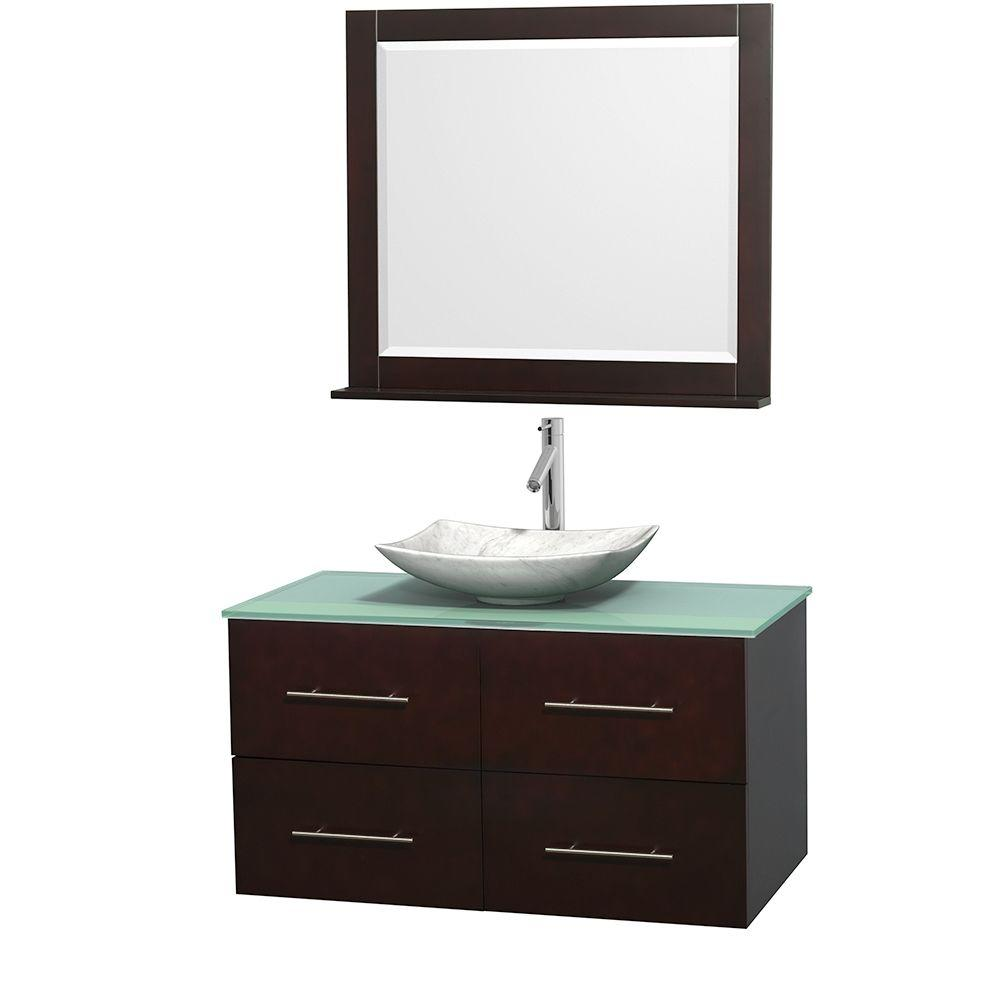 Wyndham Collection Centra 42 in. Vanity in Espresso with Glass Vanity Top in Green, Carrara White Marble Sink and 36 in. Mirror
