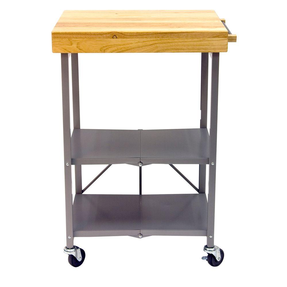 Origami 26 In L X 20 In W Foldable Kitchen Island Cart In Silver
