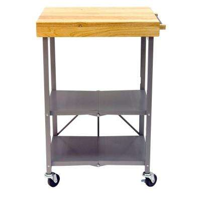 26 in. L x 20 in. W Foldable Kitchen Island Cart in Silver
