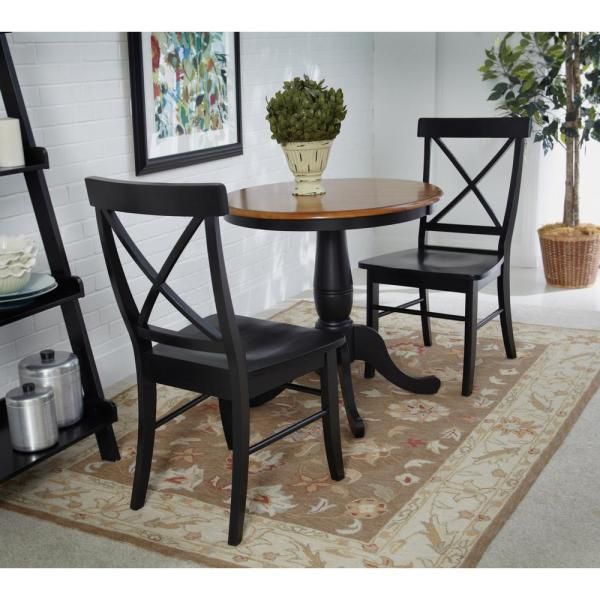 International Concepts Black Wood X Back Dining Chair (Set of 2)