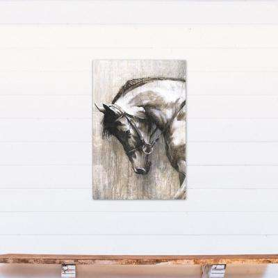 36 in. x 24 in. White Horse Printed Canvas Wall Art