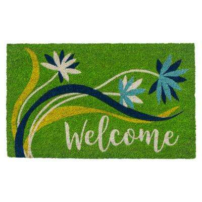 Welcome Breeze 28 in. x 17 in. Non-Slip Coir Door Mat