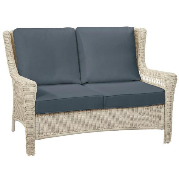 Park Meadows Off-White Wicker Outdoor Patio Loveseat with Sunbrella Denim Blue Cushions
