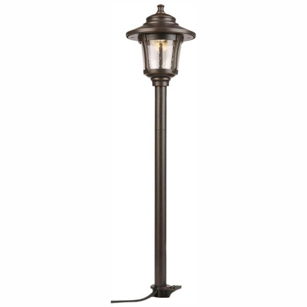 Low-Voltage 10-Watt Equivalent Oil-Rubbed Bronze  Outdoor Integrated LED Landscape Path Light with Seeded Glass