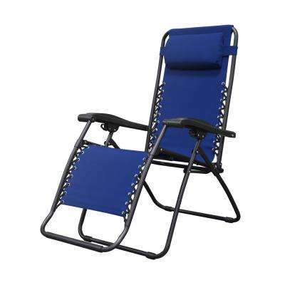 Infinity Blue Metal Zero Gravity Patio Chair