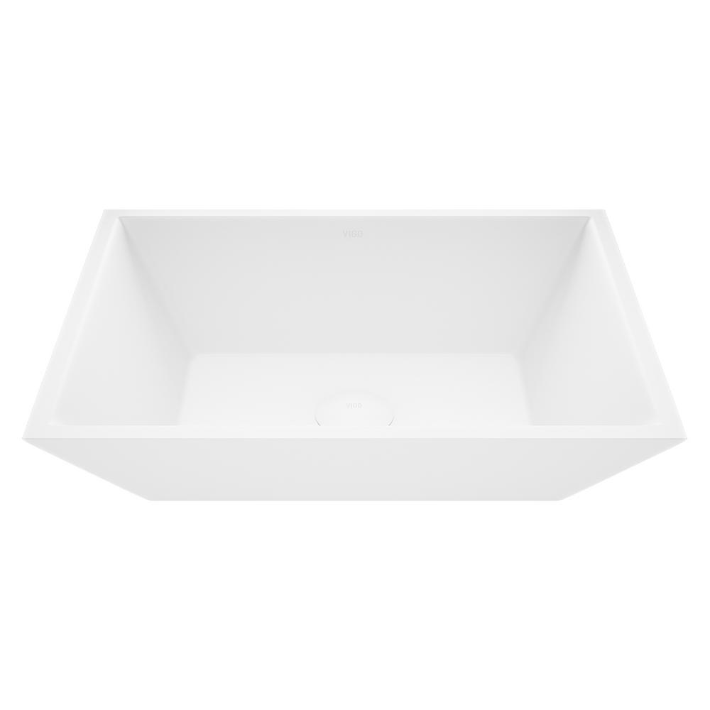 VIGO White Vinca Handmade Countertop Matte Stone Rectangle Vessel Bathroom Sink in Matte White
