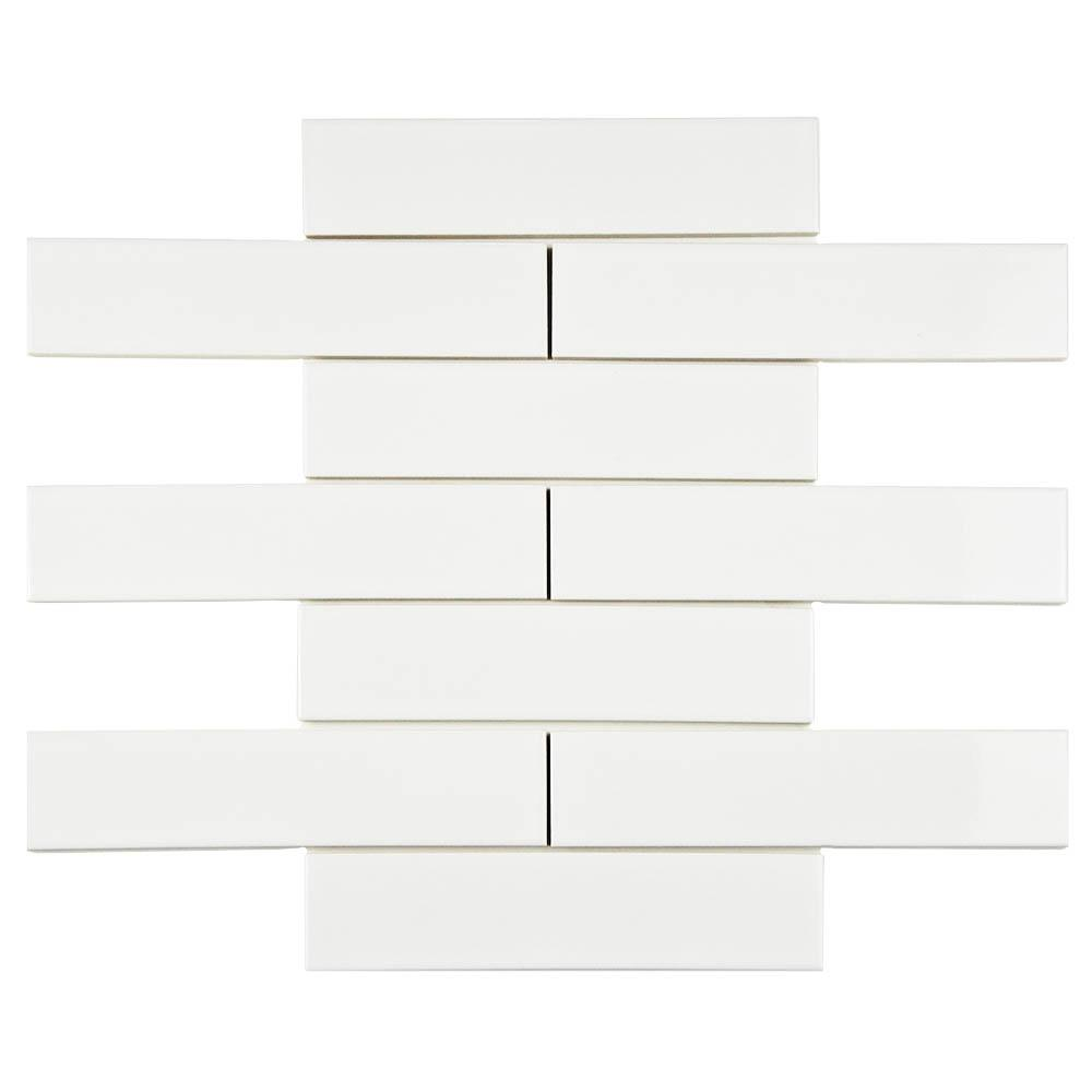 Merola tile metro soho subway glossy white 1 3 4 in x 7 3 for White subway tile