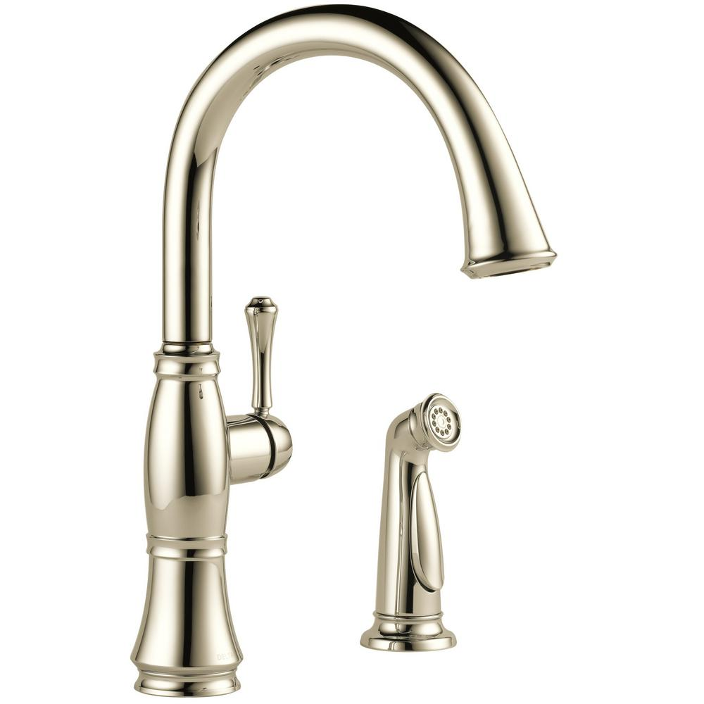 Cassidy Single-Handle Standard Kitchen Faucet with Side Sprayer in Polished