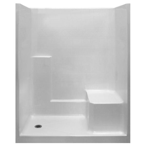 Standard 33 in. x 60 in. x 77 in. 1-Piece Low Threshold Shower Stall in White with RHS Molded Seat and Left Drain