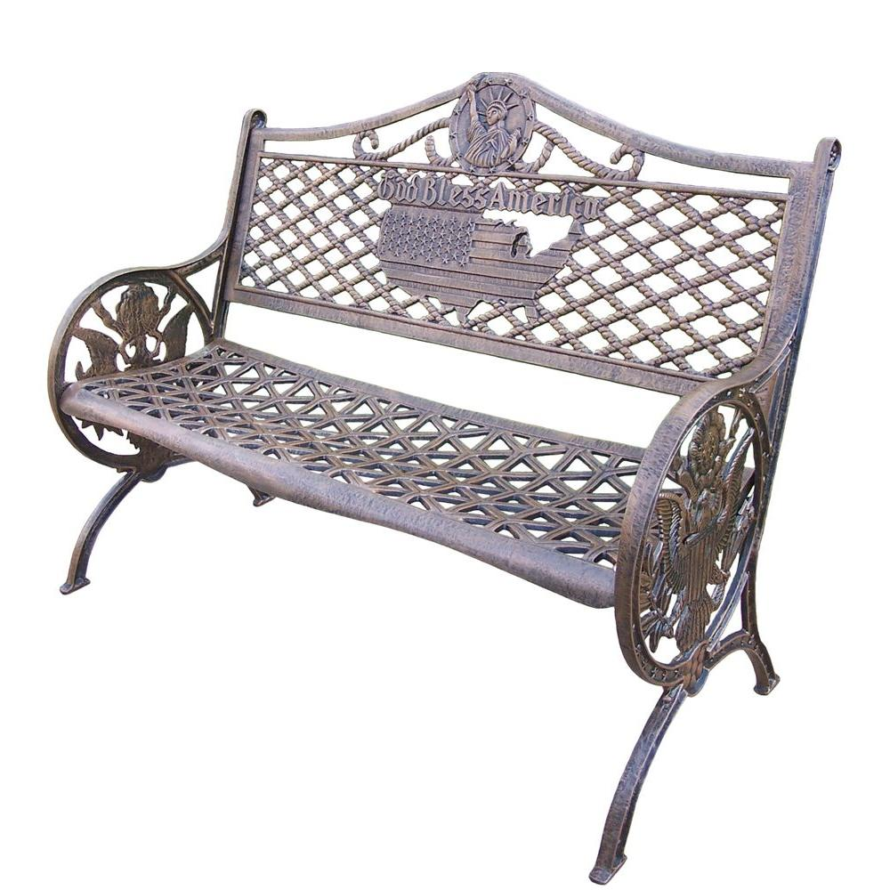 Oakland Living Bless America Cast Aluminum Patio Bench In Antique Bronze 6042 Ab The Home Depot