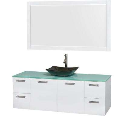 Amare 60 in. Vanity in Glossy White with Glass Vanity Top in Green, Granite Sink and 58 in. Mirror