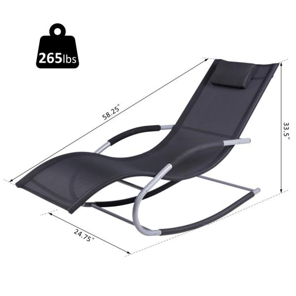 Tommy Bahama Outdoor Cushions, Outsunny Chaise Rocker Patio Metal Sling Outdoor Lounge Chairs Recliner In Black Detachable Pillow And Weather Fighting Fabric 84a 091 The Home Depot