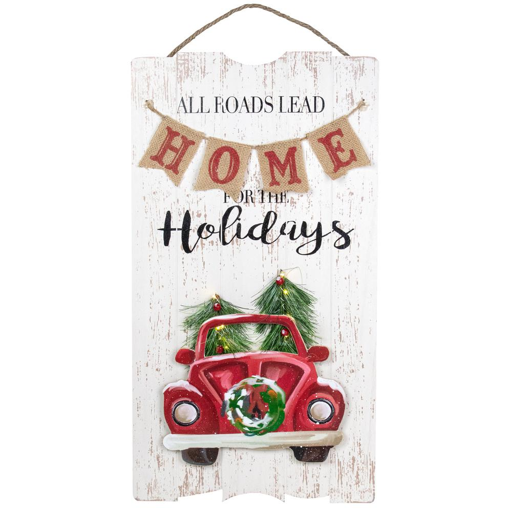 Northlight 24 In Lighted All Roads Lead Home Vintage Red Truck Christmas Wall Sign 34317267 The Home Depot