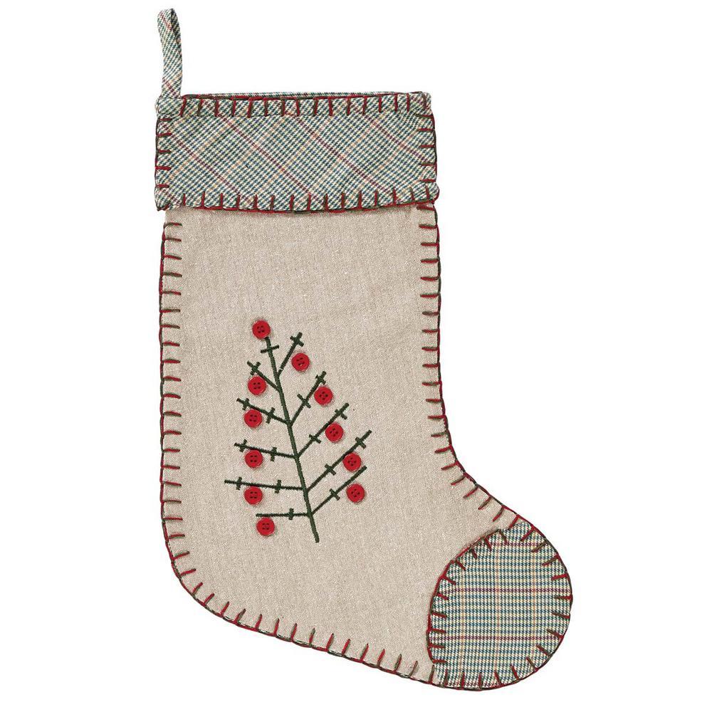 15 in. Tidings Light Khaki Tan Traditional Christmas Decor Stocking