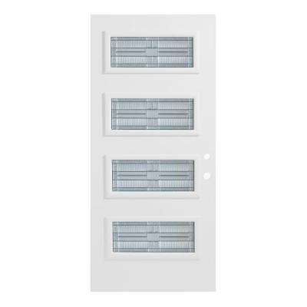 36 in. x 80 in. Seattle 4 Lite Painted White Left-Hand Inswing Steel Prehung Front Door