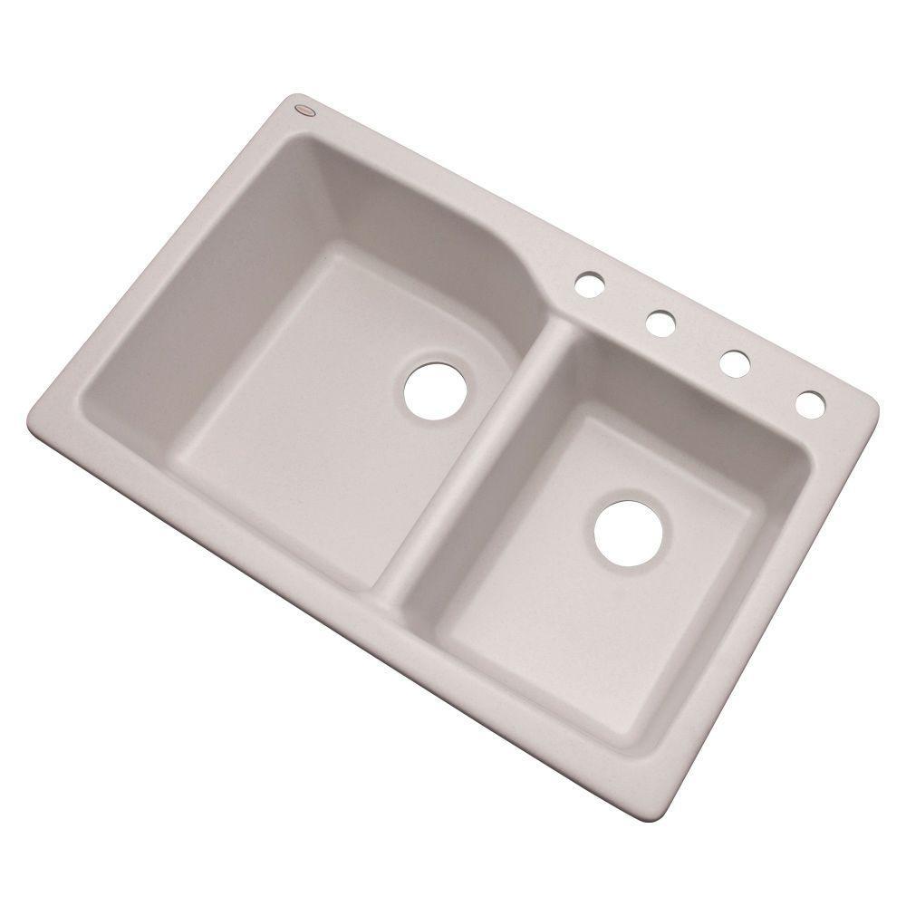 Glacier Bay Grande Dual Mount Composite Granite 35 in. 4-Hole Double Bowl Kitchen Sink in White