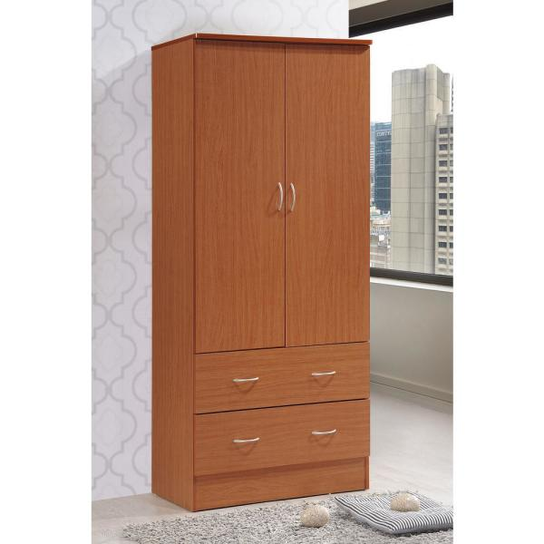 Hodedah 2-Door Armoire with 2-Drawers in Cherry HI29 Cherry