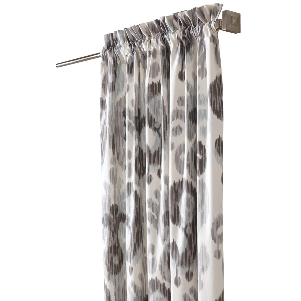 Semi-Opaque Still Water 108 in. L Cotton Drapery Panel in Grey