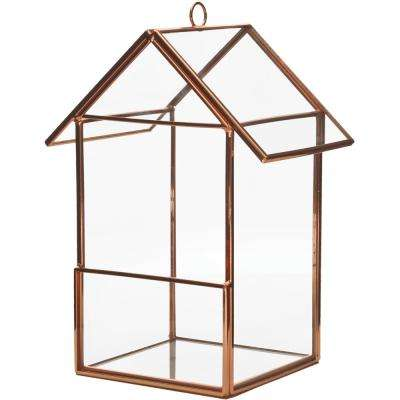 Mika 3.5 in. W x 6. in. H Rose Gold Faceted Glass Hanging Birdhouse Terrarium