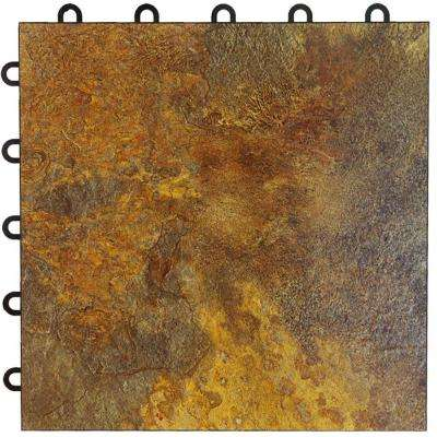 Max Tile 12 in. x 12 in. x 5/8 in. Slate Vinyl Interlocking Raised Modular Floor Tile (Case of 26)