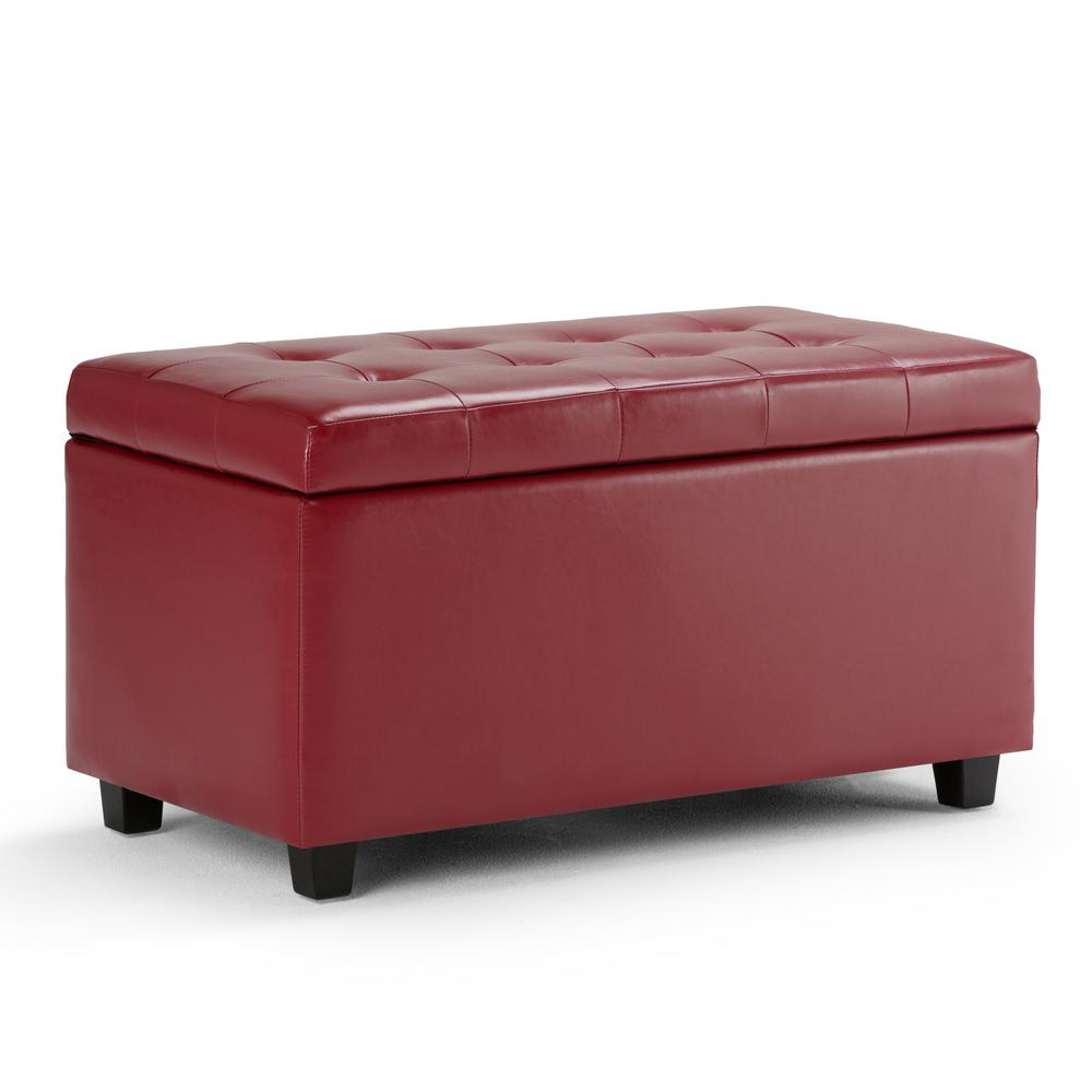Simpli Home Cosmopolitan Red Medium Storage Ottoman Bench