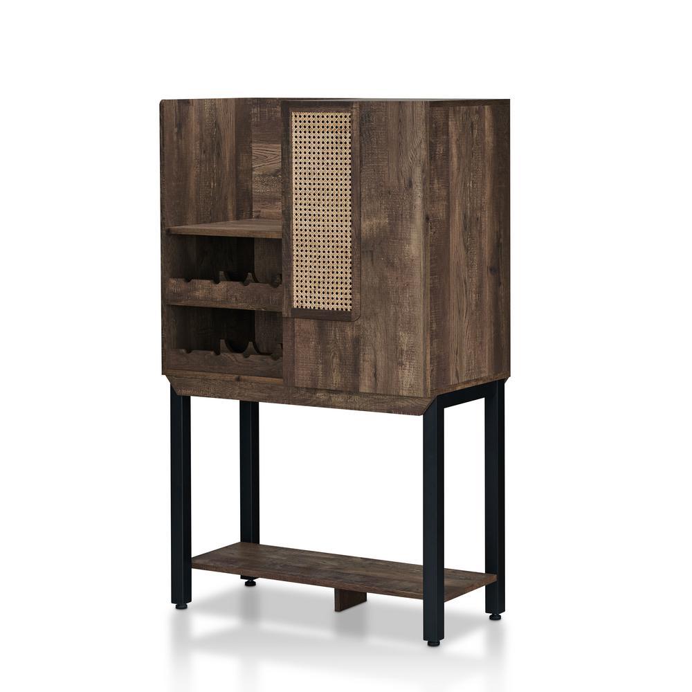 Mangoro 8-Bottle Reclaimed Oak Wine Cabinet