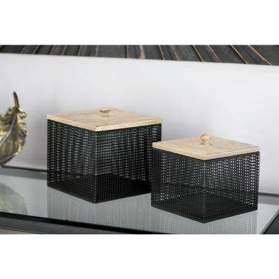 Black Iron Mesh Square Canisters with Wooden Lid (Set of 2)