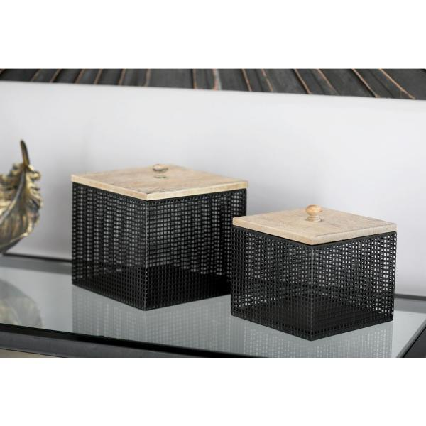 Litton Lane Black Iron Mesh Square Canisters with Wooden Lid (Set of 2)