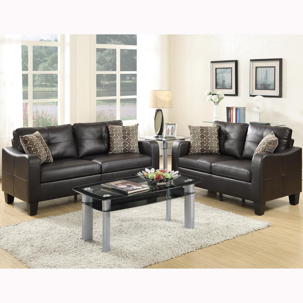 Venetian worldwide calabria 2 piece espresso sofa set bonded leather