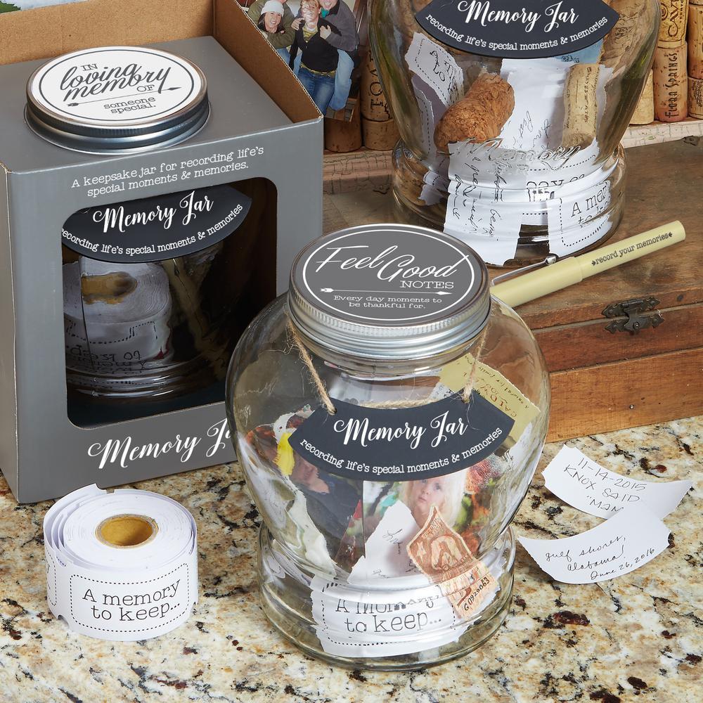 Top Shelf Clear Glass Feel Good Memory Jar