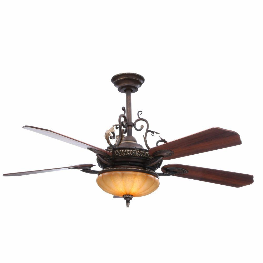 Hampton Bay Chateau De Ville 52 in. Indoor Walnut Ceiling Fan with Light Kit and Remote Control ...
