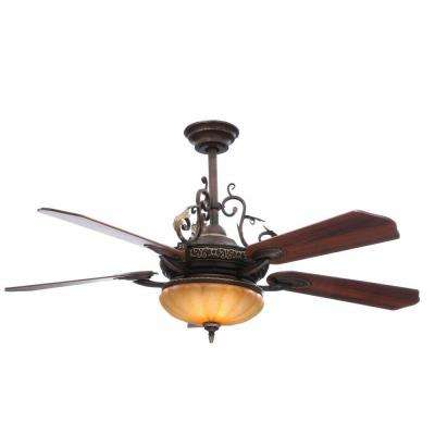 Chateau De Ville 52 in. Indoor Walnut Ceiling Fan with Light Kit and Remote Control