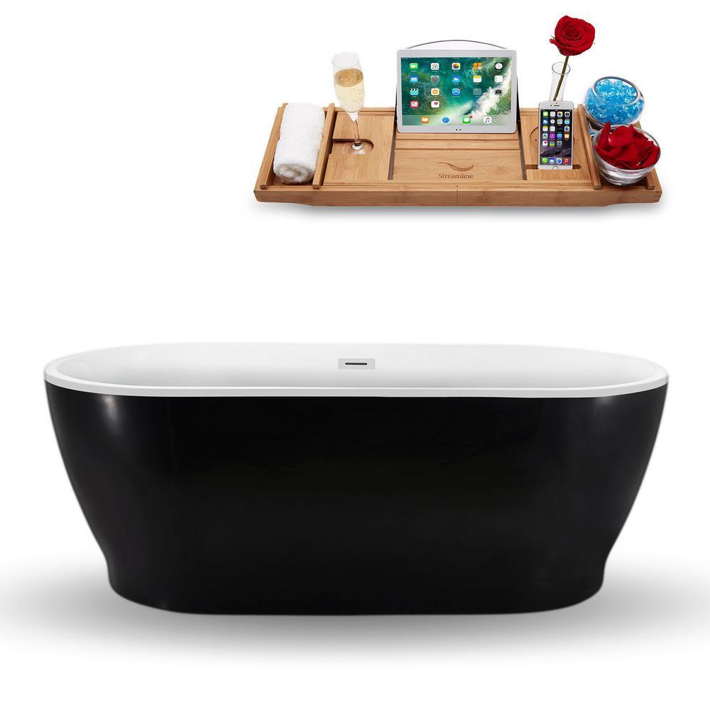 Streamline 66.9 in. Acrylic Fiberglass Flatbottom Non-Whirlpool Bathtub in Black