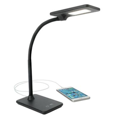 7.5W Full Feature LED Desk Lamp, Black with USB Charging Port and Touch Dimming