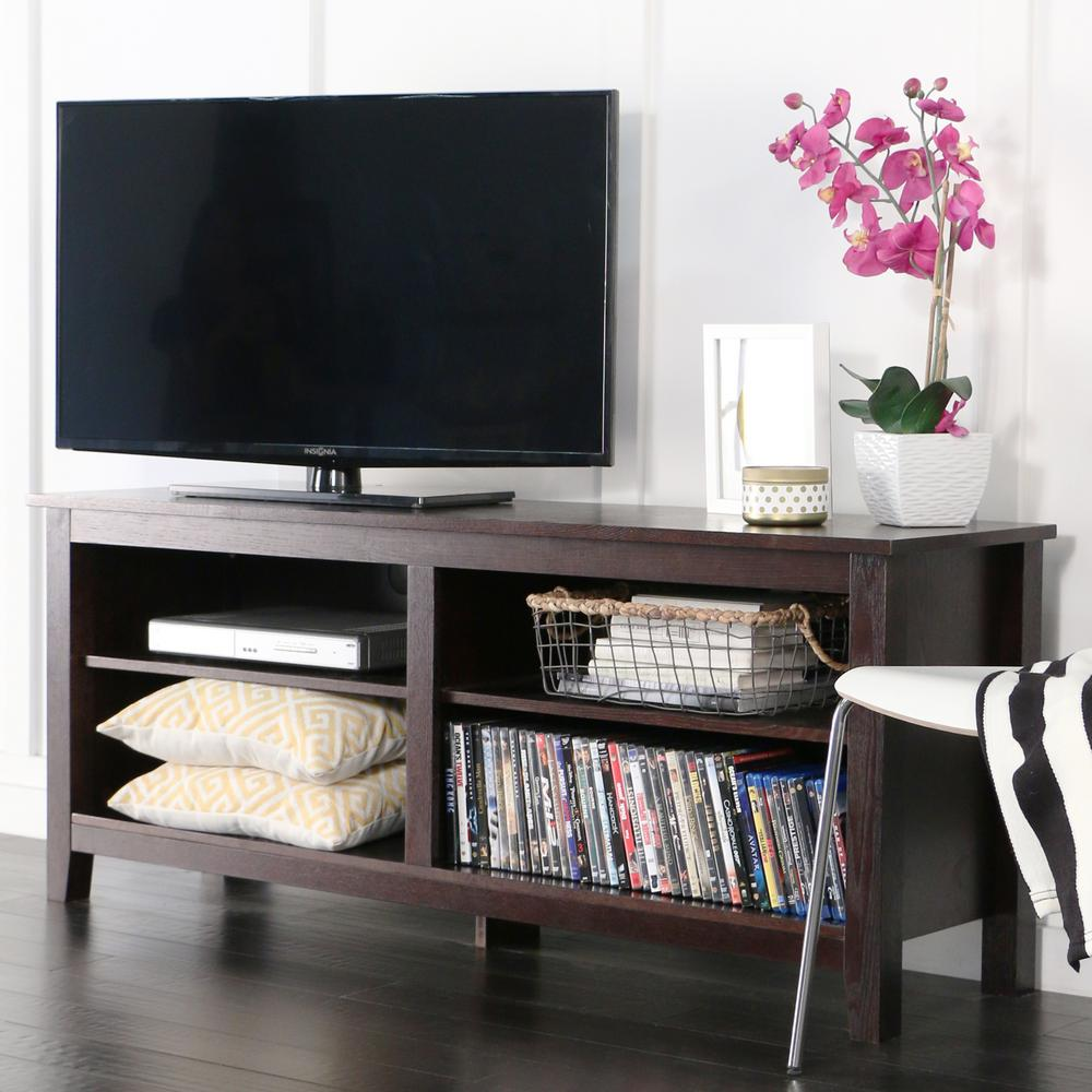 Walker Edison Furniture Company Essential Espresso Entertainment  Center HD58CSPES   The Home Depot. Walker Edison Furniture Company Essential Espresso Entertainment