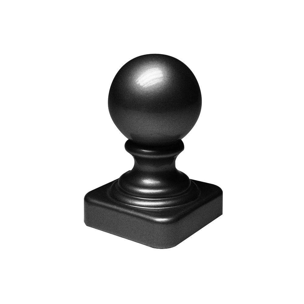 2 in. x 2 in. Black Aluminum Ball Post Top