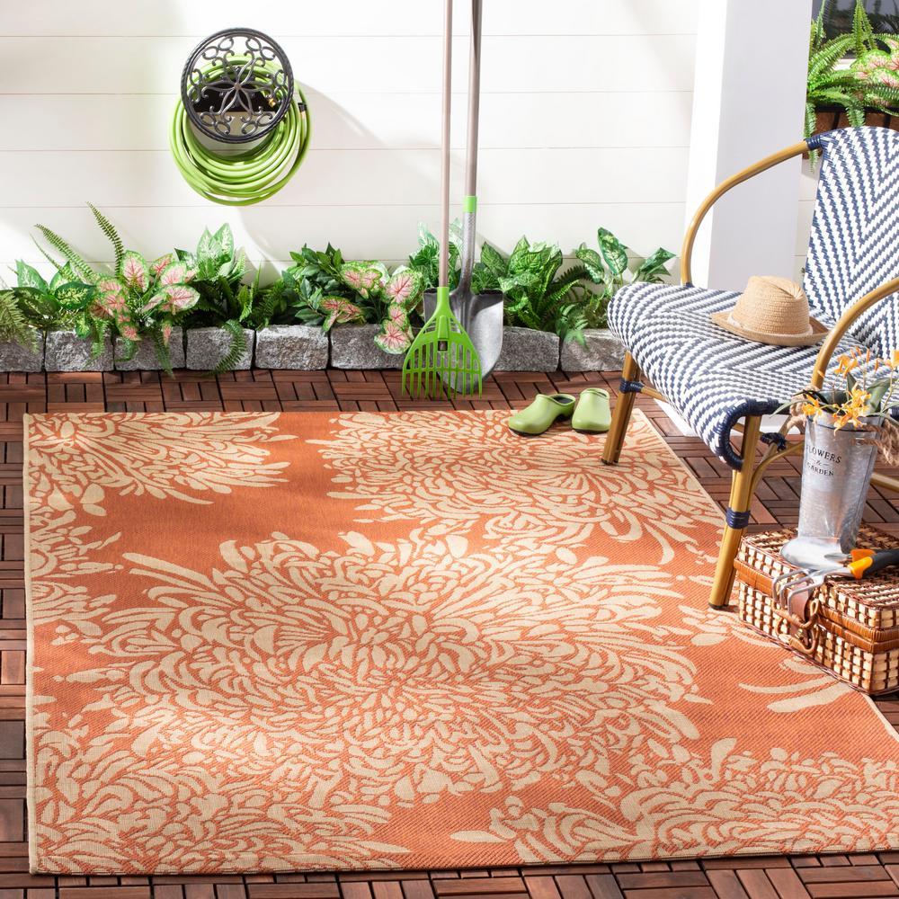 Martha Stewart Terracotta/Beige 5 ft. x 8 ft. Indoor/Outdoor Area Rug