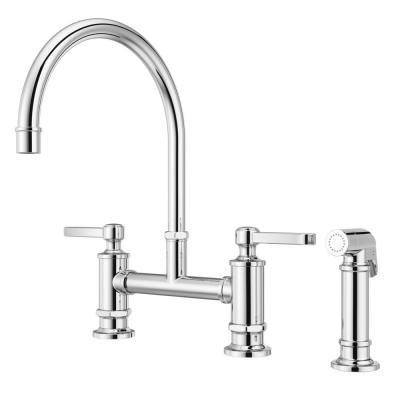 Port Haven 2-Handle Bridge Kitchen Faucet in Polished Chrome with Optional Side Sprayer