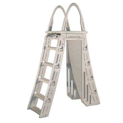 A-Frame Adjustable Roll-Guard Safety Above Ground Pool Ladder