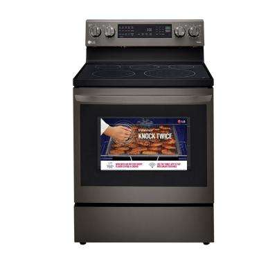 6.3 cu. ft. Smart True Convection InstaView Electric Range Single Oven with Air Fry in Black Stainless Steel