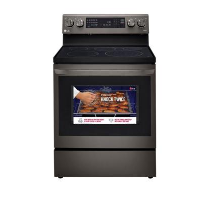 6.3 cu. ft. Smart True Convection InstaView Electric Range Single Oven with Air Fry in PrintProof Black Stainless Steel