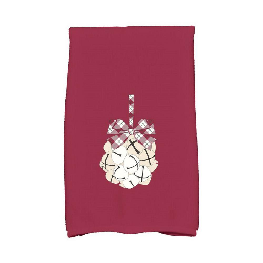 16 in. x 25 in. Cranberry Jingle Bells Holiday Geometric Print