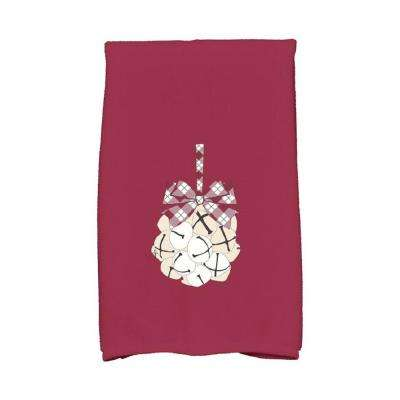 16 in. x 25 in. Cranberry Jingle Bells Holiday Geometric Print Kitchen Towel