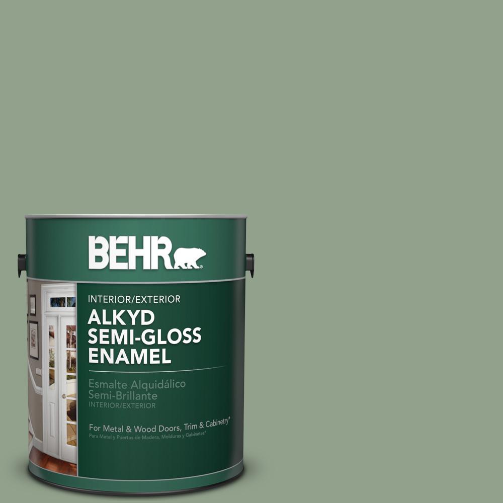 1 gal. #440F-4 Athenian Green Semi-Gloss Enamel Alkyd Interior/Exterior Paint
