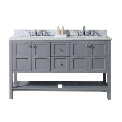 Winterfell 60 in. W x 22 in. D Vanity in Grey with Marble Vanity Top in White with White Basin