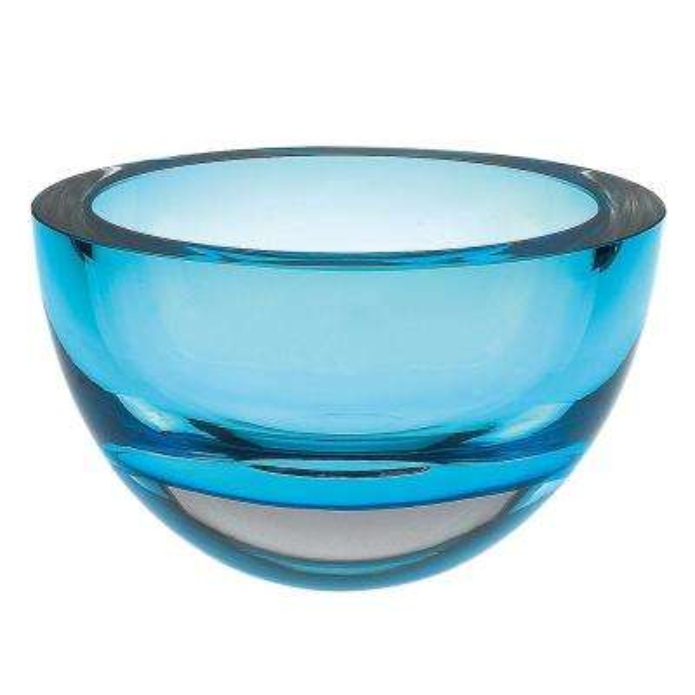 Penelope Aqua Blue Mouth Blown European Lead Free Crystal 6 in. Bowl
