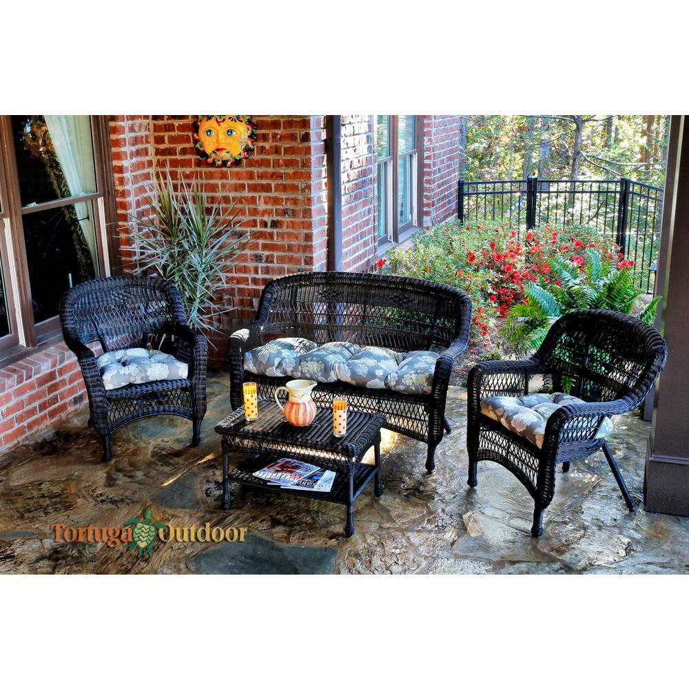 Portside Dark Roast 4-Piece Wicker Patio Seating Set with Vivienne Putty Cushions