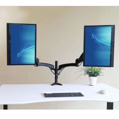 "AIRLIFT Black 360 Dual Ultra Gas-Spring Adjustable Desk Mount Monitor Arm 13"" to 27"" and Vesa Compatible"