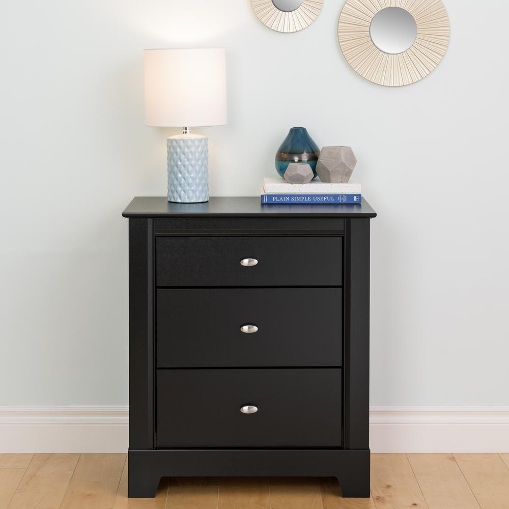 Kallisto 3 drawer black nightstand